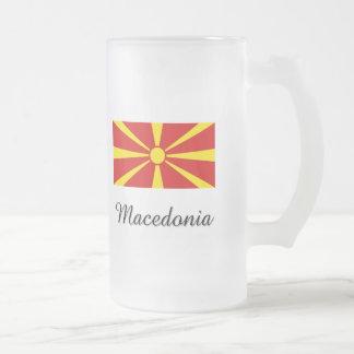 Macedonia Flag Design Frosted Glass Beer Mug