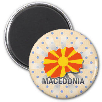 Macedonia Flag Map 2.0 6 Cm Round Magnet