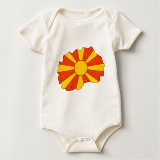 Macedonia flag map baby bodysuit