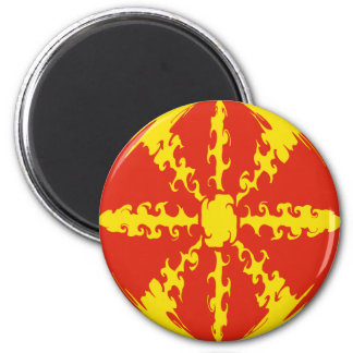 Macedonia Gnarly Flag 6 Cm Round Magnet