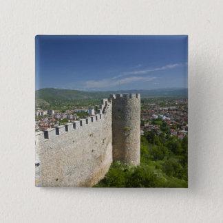 MACEDONIA, Ohrid. Car Samoil's Castle / 15 Cm Square Badge