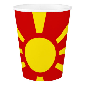 Macedonian flag paper cup