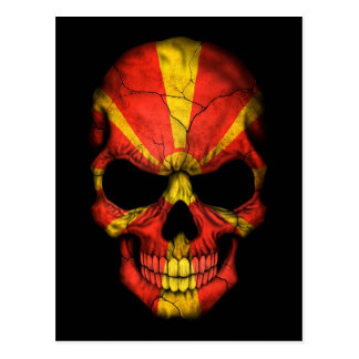 Macedonian Flag Skull on Black Postcard