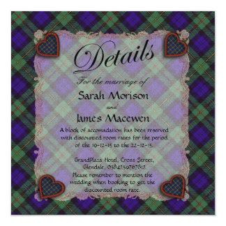 "Macewen Scottish clan tartan - Plaid 5.25"" Square Invitation Card"