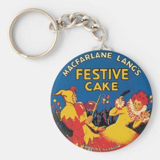 Macfarlane Lang's Festive Cake London & Glasgow Basic Round Button Key Ring