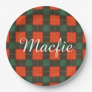 Macfie clan Plaid Scottish tartan Paper Plate