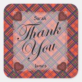 Macgillivary Scottish clan tartan - Plaid Square Stickers