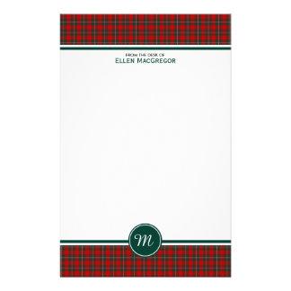 MacGregor Clan Tartan Red and Green Plaid Monogram Stationery