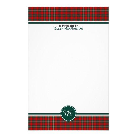 MacGregor Clan Tartan Red and Green Plaid Monogram