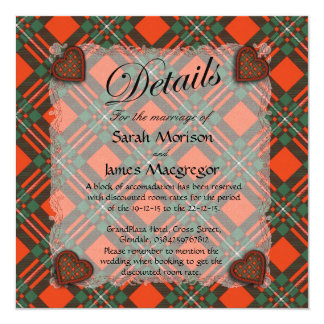 "Macgregor Scottish clan tartan - Plaid 5.25"" Square Invitation Card"