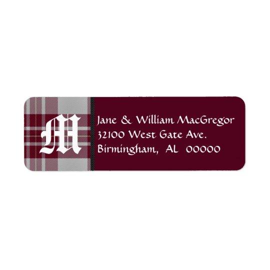 MacGregor Tartan Plaid Monogram Address Labels