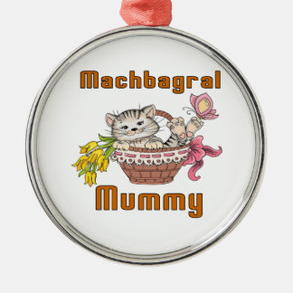 Machbagral Cat Mom Silver-Colored Round Decoration