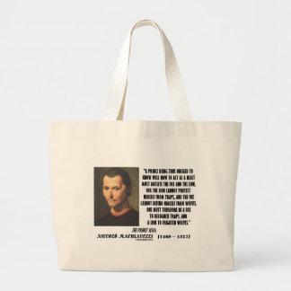 Machiavelli Prince Imitate Fox and the Lion Quote Jumbo Tote Bag