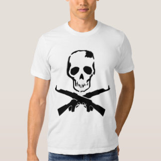Machine Gun and Skull fitted white mens tshirt