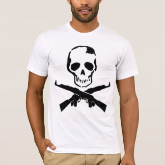 Machine Gun and Skull fitted white mens tshirt