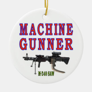 MACHINE GUNNER M-240 ROUND CERAMIC DECORATION