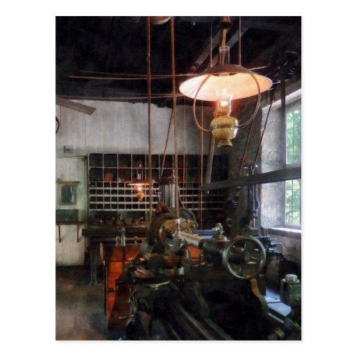 Machine Shop With Lantern Postcard