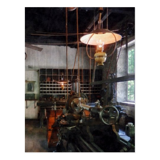 Machine Shop With Lantern Postcard