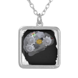 Machine Workings Gears Cogs Brain Man Silver Plated Necklace