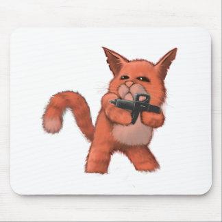 Machinegun Cat_orange Mouse Pad