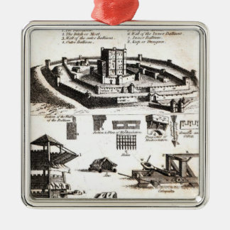 Machines of War and Castle Diagram Silver-Colored Square Decoration