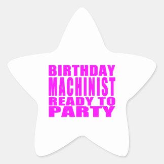 Machinists Pink Birthday Machinist Ready 2 Party Star Sticker