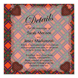 "Machintosh Scottish clan tartan - Plaid 5.25"" Square Invitation Card"