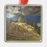 Machu Picchu, ancient ruins, UNESCO world 2 Silver-Colored Square Decoration