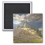 Machu Picchu, ancient ruins, UNESCO world 2 Square Magnet