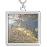 Machu Picchu, ancient ruins, UNESCO world 2 Square Pendant Necklace