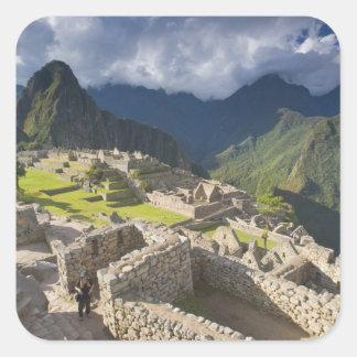 Machu Picchu, ancient ruins, UNESCO world 3 Square Sticker