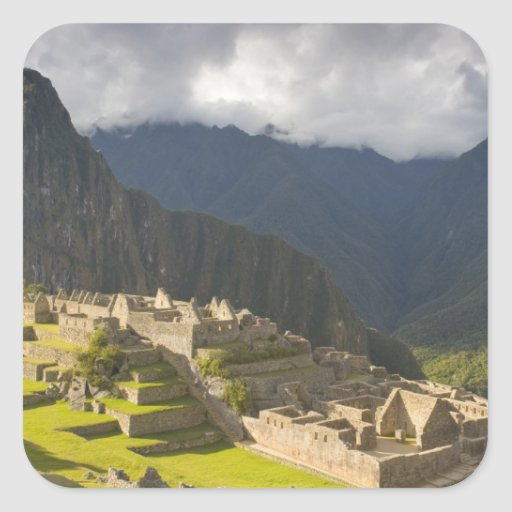 Machu Picchu, ancient ruins, UNESCO world 4 Square Stickers