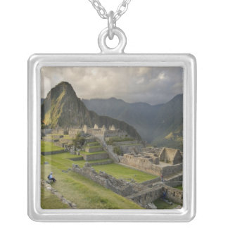 Machu Picchu, ancient ruins, UNESCO world Silver Plated Necklace