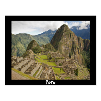 Machu Picchu, inca city in Peru black postcard