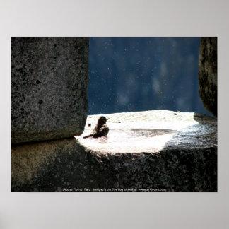 Machu Picchu, Peru, birdbath in stone window Print