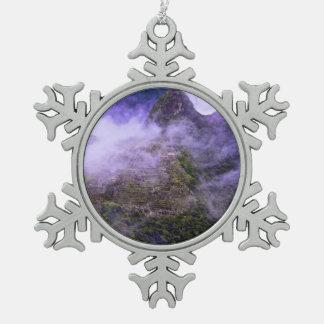Machu Picchu, Peru Snowflake Pewter Christmas Ornament