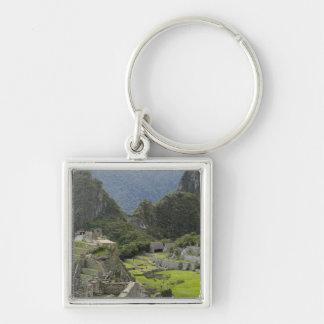 Machu Picchu, ruins of Inca city, Peru. 2 Silver-Colored Square Key Ring