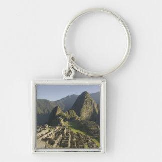 Machu Picchu, ruins of Inca city, Peru. Silver-Colored Square Key Ring