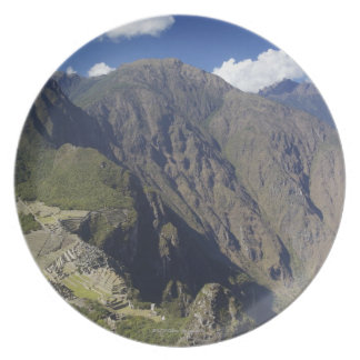 Machu Picchu viewed from Huayna Picchu, UNESCO Plate