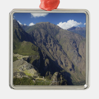 Machu Picchu viewed from Huayna Picchu, UNESCO Silver-Colored Square Decoration