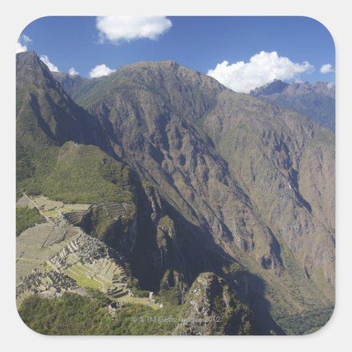 Machu Picchu viewed from Huayna Picchu, UNESCO Square Sticker