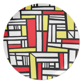 Maciej Abstract Expression Yellow Red Black Party Plates