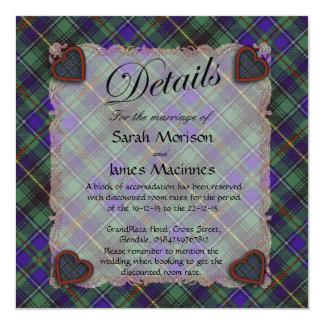 Macinnes Scottish clan tartan - Plaid 13 Cm X 13 Cm Square Invitation Card