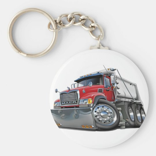 Mack Dump Truck Red-White Key Ring