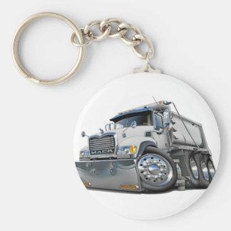 Mack Dump Truck White Basic Round Button Key Ring