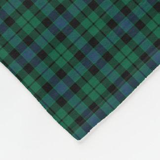 MacKay Clan Green, Blue and Black Tartan Fleece Blanket