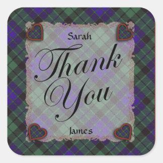 Mackay Scottish clan tartan - Plaid Square Stickers