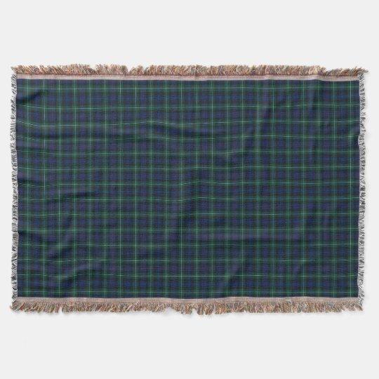 Mackenzie Clan Royal Blue and Forest Green Tartan Throw Blanket