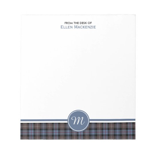 Mackenzie Clan Weathered Tartan Monogram Note Pad