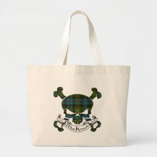 MacKenzie Tartan Skull Large Tote Bag
